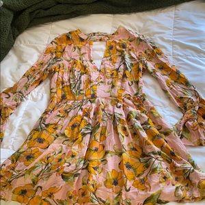 Key-Hole Neck Floral Dress - Free People